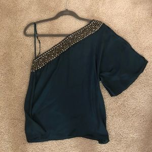 Silky Jade One Shoulder Top
